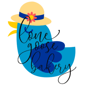 Lone Goose Bakery blue bird with summer hat
