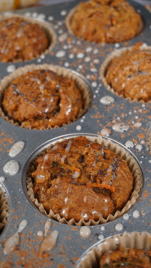 Muffins still in the pan