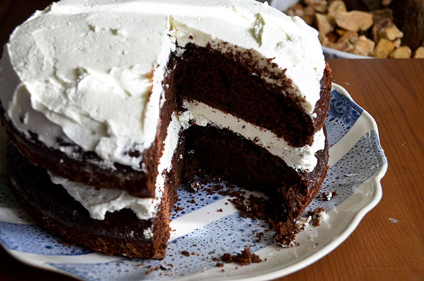chocolate cake with vanilla extract infused icing