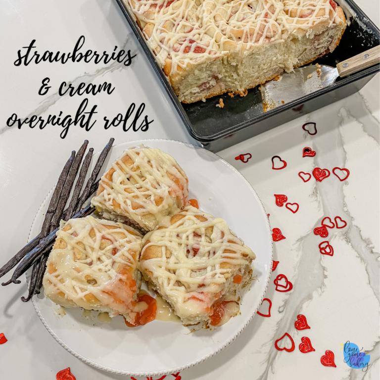 strawberries and cream overnight rolls