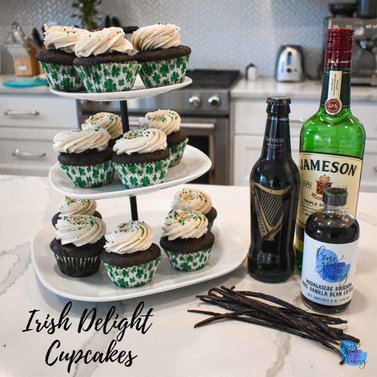 Irish Delight Cupcakes Stacked on Plates