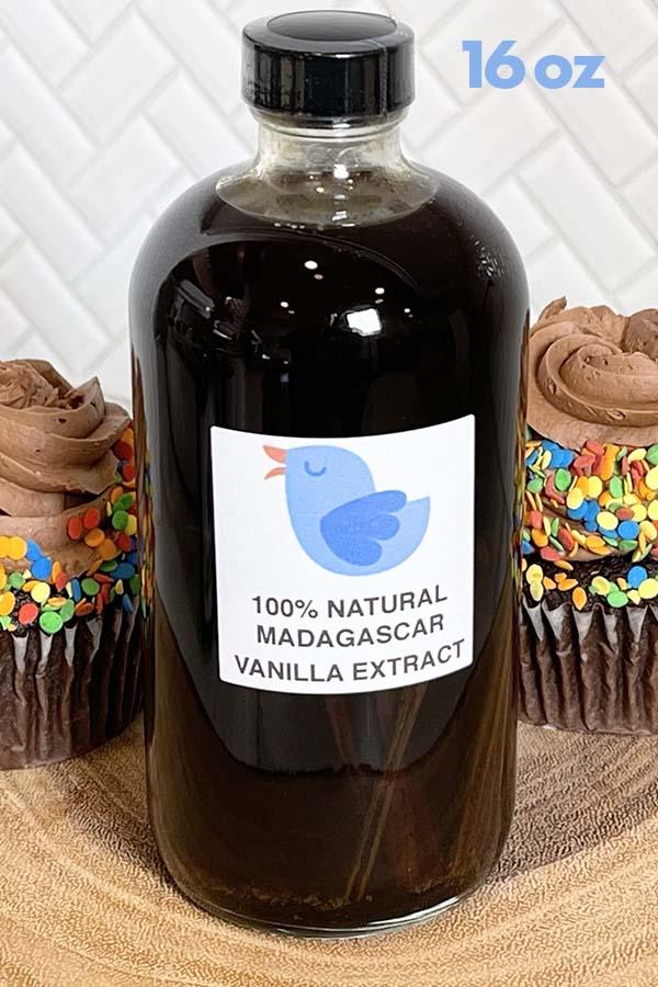 16 oz glass bottle of Madagascar Bourbon Pure Vanilla Bean Extract