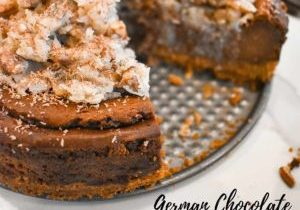 German Chocolate Cheesecake with a slice cut out